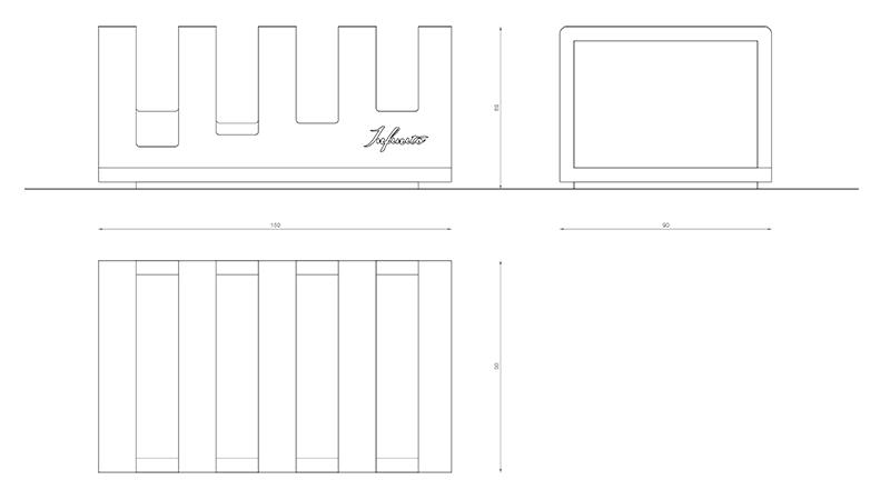 infinito design originis portapane-rettangolare scheda tecnica